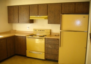 Check this one out, harvest gold, dark cabinets. They look so cheap.