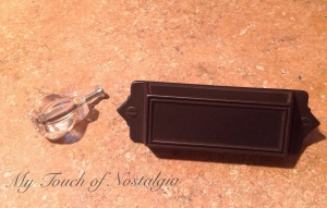 "30mm Victorian Glass Knob, and Martha Stewart 3"" Bracket Bin Pull in Iron."