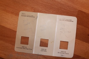 This is the beat up paint chip card I carry in my purse, so when I need to match or mix paint I have it with me.